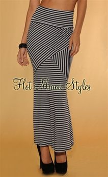 Black Gray Stripes Mermaid Maxi Skirt