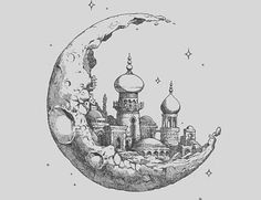 Drawing of a kingdom on the moon! i love this