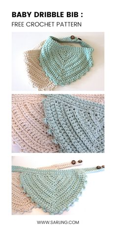 This super easy bandana style dribble bib works up quick as its all made in one piece (no joining- yay! It has a vintage, boho feel thanks to the mix of stitches, the texture and the picot edging. Best of all, its suitable for girls and boys! Crochet Baby Bibs, Crochet Baby Cardigan, Crochet Baby Clothes, Crochet For Kids, Baby Knitting, Free Crochet, Crochet Crafts, Knit Crochet, Free Knitting