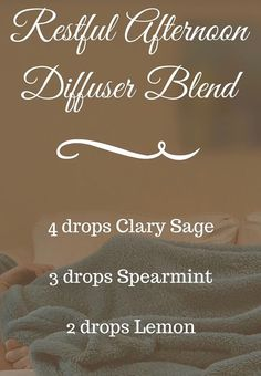 Sit, relax, meditate with this soothing blend of clary sage, spearmint, lemon diffuser blend Essential Oil Diffuser Blends, Essential Oil Uses, Young Living Essential Oils, Doterra Diffuser, Aromatherapy Oils, Aromatherapy Recipes, Diffuser Recipes, Living Oils, Doterra Essential Oils