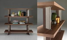 B580 bookcase by BORZALINO - walnut shelves, backs covered in double color suede leather and lacquered metal details