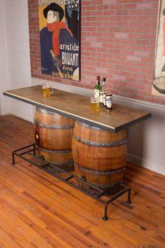 Whiskey Barrel Bar, Whiskey Barrel Furniture, Wine Barrels, Wine Barrel Table Diy, Wine Barrel Bar Stools, Beer Table, Wine Cellar, Diy Home Bar, Bars For Home
