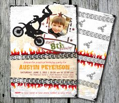 PRINTABLE 5x7 Motocross, Motorcycle, Motosport invitations front and back template