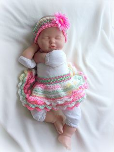 Baby girl Spring Crochet Tutu and Headband Set