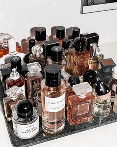 These Are the Most Popular Fragrances Among Fashion People – Fashionista. Perfum… These Are the Most Popular Fragrances Among Fashion People – Fashionista. Perfume Storage Ideas and Inspiration For Karen Gilbert Perfume Storage, Perfume Organization, Perfume Display, Makeup Organization, Bandeja Perfume, Perfume Diesel, Best Perfume, Perfume Fragrance, Makeup Ideas