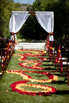 Burst of color ceremony decor
