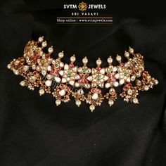 Jewelry OFF! Be more gorgeous with this gold short necklace and its matching earrings adorned by uncut diamonds pearl beads ruby emerald stones. Gold Choker Necklace, Short Necklace, Earrings, Gold Jewellery Design, Gold Jewelry, Jewelery, Gold Mangalsutra, Vintage Wedding Jewelry, Schmuck Design