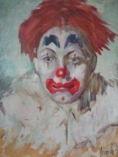 Älteres GEMÄLDE Clown Frankreich Öl/Lw. *** shabby chic ***