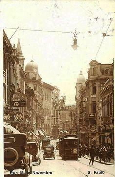 Década de 1920 - Rua XV de Novembro, Centro. S. Paulo, Brazil