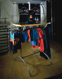 Pipe Clothing rack. This is a design i haven't seen yet.