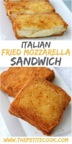 How to Make Mozzarella In Carrozza - The popular Italian deep-fried vegetarian mozzarella sandwich - Golden crisp on the outside and creamy melt-in-your-mouth on the inside! Recipe by The Petite Cook #Cooking