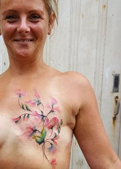 Breast cancer scar-concealing tattoo by Jemka