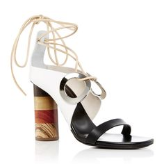 Proenza Schouler Grommet Tie Up Sandals (6.224.415 IDR) ❤ liked on Polyvore featuring shoes, sandals, white, tie shoes, wooden heel sandals, white sandals, tie sandals and genuine leather shoes