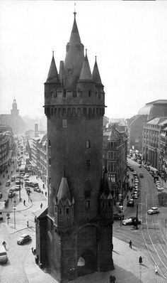 View 1 of 3 - 1950 - Eschenheimer Turm (Eschenheim Tower) was a city gate, part of the late-medieval fortifications of Frankfurt am Main, and is a landmark of the city. The tower, which was erected at the beginning of the fifteenth century, is at once the oldest and most unaltered building in the largely reconstructed Frankfurter Neustadt (new town), now better known as the Frankfurt-Innenstadt (city center).