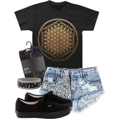 """""""Untitled outfit #135"""" by zozo812 on Polyvore. Bring me the horizon sempiternal shirt shorts tights and vans"""