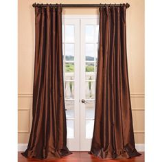 Copper Brown Faux Silk Taffeta Curtain Panel | Overstock.com Shopping - The Best Deals on Curtains