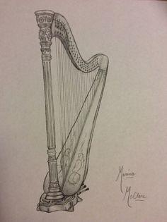 I love drawing harps...