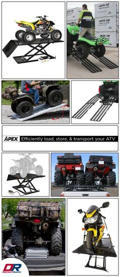 An incredible selection of ATV products and accessories for efficiently loading, storing, and transporting your ATV. Discount Ramps has ATV products to handle any task that needs to be accomplished for ATVs, quads, 3-wheelers and more.