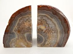 Beautiful Natural Quartz Geode Bookends,  Agate Crystal Book Ends