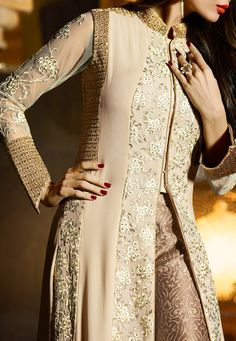 Buy Malaika Arora Beige Georgette Straight Pant Suit online, SKU Code: This Beige color Wedding straight pant suit for Women comes with Stones Faux Georgette. Abaya Fashion, India Fashion, Handmade Dresses, Unique Dresses, Pakistani Outfits, Indian Outfits, Straight Dress, Anarkali Dress, Dress Patterns