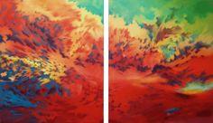 La veuve et le foie gras 2x100x120cm - diptyque : peinture à l'huile sur toile