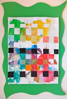 Paper Weaving- I love the boldness of the black and white against the painted parts.