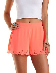 Neon Laser-Cut Scalloped Shorts: Charlotte Russe #neon #shorts #spring
