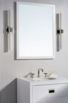 The New Geometry: We've added dimension to an all-white bath by playing with a mix of curved shapes--our faucet, Opus sconces and Penny tiles--and linear forms in our Opus vanity and mirror. Budget Bathroom, Bathroom Storage, Small Bathroom, Master Bathroom, Basement Bathroom, Bathroom Curtains, Shower Curtains, Bathroom Ideas, Toilette Design
