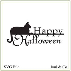 Halloween svg, happy halloween svg, vinyl cutting, paper craft, card making, svg file Halloween illustration, halloween sign Welcome,  Thank you for visiting the shop and having a look at the original artwork offered here.  This is an instant download of a SVG file to be used for cutting vinyl among many other uses.  WHAT YOU WILL RECEIVE  An SVG file will arrive zipped. The file is in black and white so that you may color as you wish.  A download link will be emailed to you just a few… Halloween Phrases, Halloween Signs, Halloween Cat, Happy Halloween, Halloween Decorations, Halloween Stuff, Local Craft Fairs, Craft Markets, Halloween Season