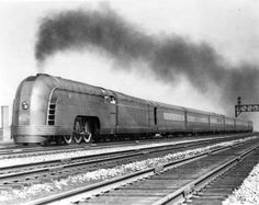 New York Central's streamlined Mercury. One of New York Central's two class Pacifics (Nos. 4915 and that the road streamlined in 1936 for the Chicago–Detroit Mercury appears to have the. New York Central Railroad, Milwaukee Road, Old Trains, Vintage Trains, Train Art, Train Pictures, Train Engines, Transporter, Steam Locomotive