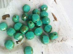 böhmische Glasperlen türkis antik finish12 mm von kette78 auf DaWanda.com