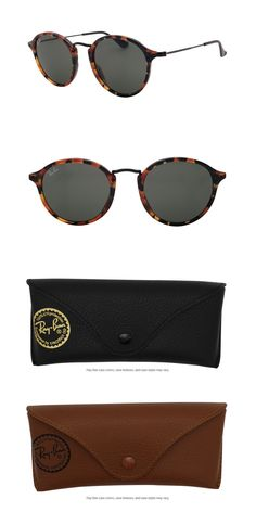 ce71146c0a Sunglasses 155189  Ray Ban Round Fleck Rb2447 1157 49 Spotted Black Havana  Frame Green Lenses