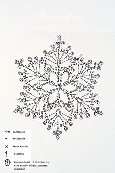 Crochet script for snowflakes Crochet Snowflake Pattern, Crochet Stars, Crochet Motifs, Crochet Snowflakes, Crochet Diagram, Tunisian Crochet, Love Crochet, Crochet Doilies, Crochet Stitches
