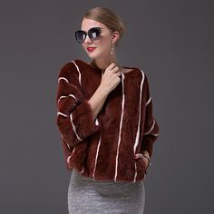 >> Click to Buy << New casual women's real mink fur coat winter spring pullover jacket short stripe fur coat thin big O-neck natural clothes female #Affiliate