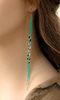 Long Shoulder Duster Earring~Seed Bead Summer Color Long Ethnic Fringe Dangle~Seed Bead Boho Blue Turquoise Long Gypsy Duster - Newest Jewelry Models Seed Bead Jewelry, Bead Jewellery, Seed Bead Earrings, Fringe Earrings, Diy Earrings, Wire Jewelry, Boho Jewelry, Jewelry Crafts, Handmade Jewelry