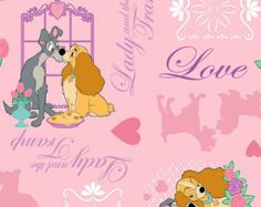 Disney Lady and the Tramp 100 Cotton Fabric by TulleandTaffeta