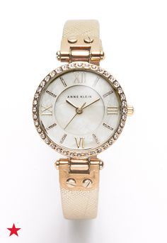 e389d152 Anne Klein Women's Gold-Tone Textured Saffiano Faux Leather Strap Watch  28mm AK-2214CMGD & Reviews - Watches - Jewelry & Watches - Macy's. Cyber  Week ...