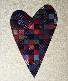 Necktie heart quilt by Andrea Kollath | Quiltmanufaktur (Germany)