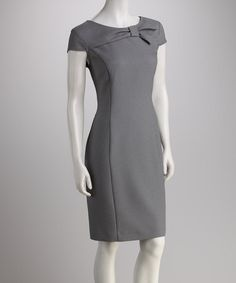 Take a look at this Black Bow Cap-Sleeve Dress by Worth Wearing: Women's Dresses on #zulily today!