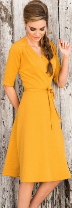 cute faux wrap dress http://rstyle.me/n/qkpmvr9te