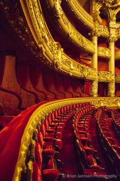 Theatre seating inside Palais Garnier - Opera House, Paris France. © Brian Jannsen Photography