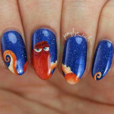 """Nail Art Inspired by Hank From Disney's """"Finding Dory"""" Disney Inspired Nails, Disney Nails, Great Nails, Cute Nails, Amazing Nails, Heart Nail Art, Gel Nail Designs, Creative Nails, Nails Inspiration"""