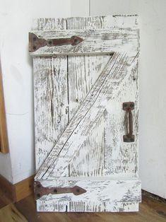 Rustic shutter barn doors | Etsy Shutter Wall Decor, Shutter Doors, Door Header, Rustic Shutters, Little Barn, Barn Door Handles, Rustic White, Diy Door, Shabby Chic Homes