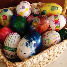 #Vegan Easter Eggs: Every year each member of the family decorates 1 porcelain or wooden egg. Initial & date each one for a growing collection of memories.