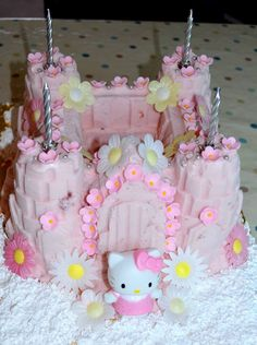 Hello Kitty ice cream cake! Fill a silicon castle cake mould with ice cream and put in the freezer. After a while take out, decorate with edible flowers and put back in the freezer until ready to sing 'Happy Birthday!'