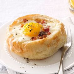 Breakfast Bread Bowls Recipe from Taste of Home -- shared by Patrick Lavin, Jr., Birdsboro, Pennsylvania