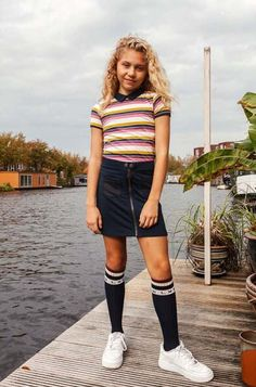'In de spotlights' met de NIEUWE COLLECTIE van LOOXS! #looxs #rok #stripes #trend #meisjes #kinderkleding #fashion #nieuwe #collectie #girlslook #outfit #inspiration Skater Skirt, Skirts, Leather, Spotlight, Outfits, Clothes, Style, Products, Fashion