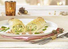 Mousse de courgette aux crevettes | Colruyt Fresh Rolls, Tacos, Food And Drink, Mexican, Dinner, Ethnic Recipes, Cocktails, Wraps, Juice