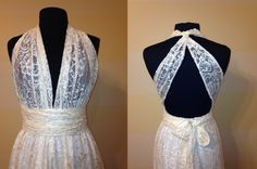 Infinity Dress in Lace. This gives me an idea for an infinity wedding dress-lace overlay with white underlay at a long length tied over one shoulder with a sweetheart neckline and a silver brooch at the shoulder