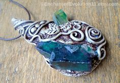 Fluorite Green Kyanite Necklace Clay by EnchantedEvolution11.Hand-sculpted necklace with stunning purple & green Fluorite from the Okarusu mine in Namibia and very gemmy green Kyanite.  #jewellry #necklaces #inspiration #clay #metaphysical #elven #shaman #spirit #enchanted